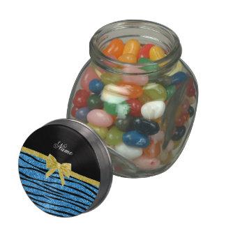 Custom name pastel blue glitter zebra stripes bow glass jar