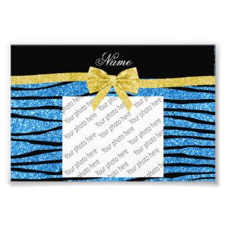 Custom name pastel blue glitter zebra stripes bow photo art