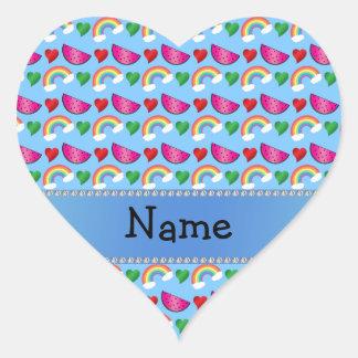 Custom name pastel blue watermelons rainbows heart heart sticker