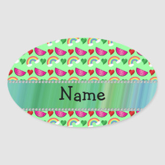 Custom name pastel green watermelons rainbows oval stickers