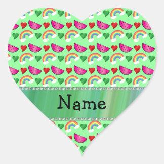 Custom name pastel green watermelons rainbows heart sticker