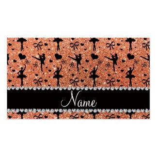 Custom name pastel orange glitter ballerinas business cards