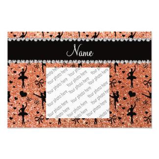 Custom name pastel orange glitter ballerinas photo print