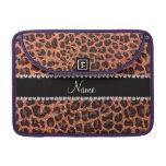 Custom name pastel orange glitter leopard print sleeve for MacBooks