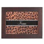 Custom name pastel orange glitter leopard print memory boxes