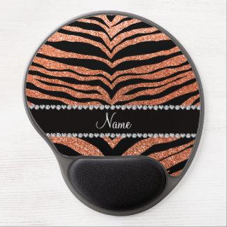 Custom name pastel orange glitter tiger stripes gel mouse mat