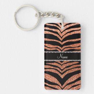 Custom name pastel orange glitter tiger stripes Single-Sided rectangular acrylic keychain