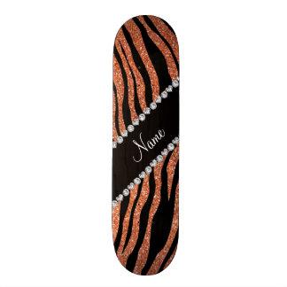 Custom name pastel orange glitter tiger stripes skateboard