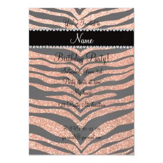 Custom name pastel orange glitter tiger stripes magnetic invitations
