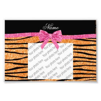 Custom name pastel orange glitter zebra stripes art photo