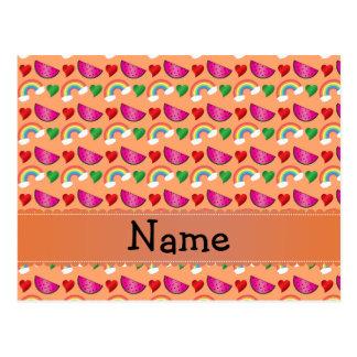 Custom name pastel orange watermelons rainbows postcards