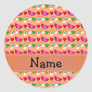Custom name pastel orange watermelons rainbows stickers