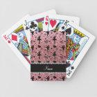 Custom name pastel pink glitter ballerinas bicycle playing cards