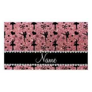 Custom name pastel pink glitter ballerinas business card templates