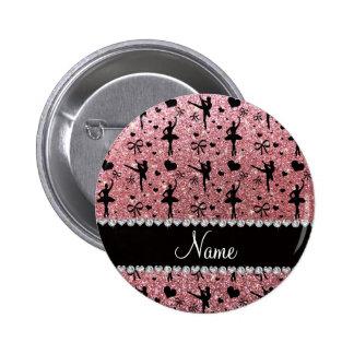 Custom name pastel pink glitter ballerinas pins