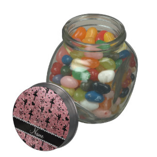 Custom name pastel pink glitter ballerinas jelly belly candy jars