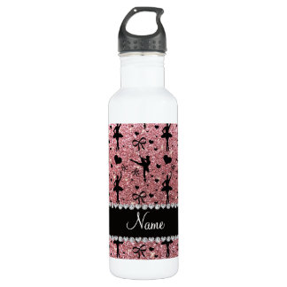 Custom name pastel pink glitter ballerinas stainless steel water bottle