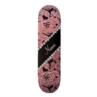 Custom name pastel pink glitter figure skating custom skateboard