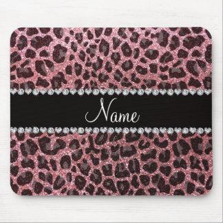 Custom name pastel pink glitter leopard print mouse pad
