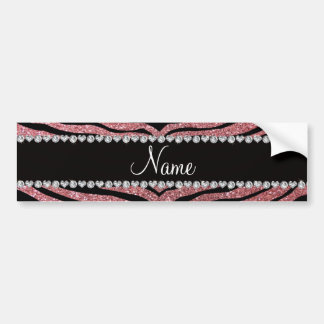 Custom name pastel pink glitter tiger stripes bumper sticker