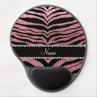 Custom name pastel pink glitter tiger stripes gel mousepads