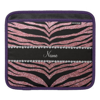 Custom name pastel pink glitter tiger stripes sleeves for iPads