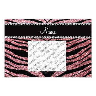 Custom name pastel pink glitter tiger stripes photo print
