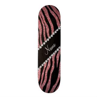 Custom name pastel pink glitter tiger stripes custom skateboard