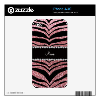 Custom name pastel pink glitter tiger stripes skins for the iPhone 4S