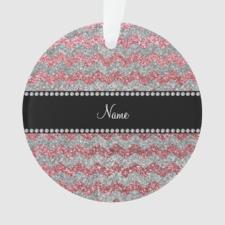 Custom name pastel pink silver glitter chevrons