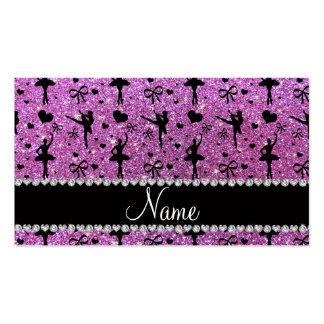 Custom name pastel purple glitter ballerinas business cards