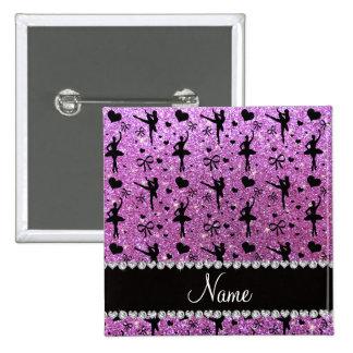 Custom name pastel purple glitter ballerinas pinback button