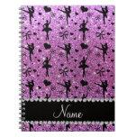 Custom name pastel purple glitter ballerinas spiral note book