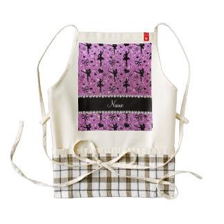 Custom name pastel purple glitter ballerinas zazzle HEART apron