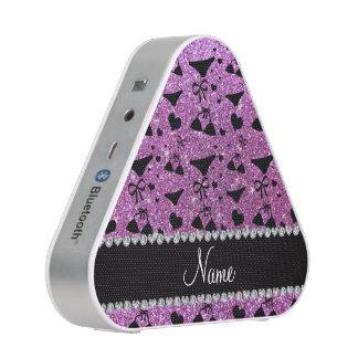 Custom name pastel purple glitter bikini bows speaker
