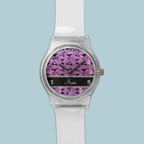 Custom name pastel purple glitter bikini bows wristwatches