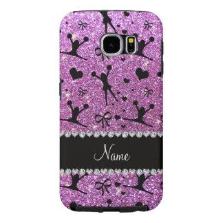 Custom name pastel purple glitter cheerleading samsung galaxy s6 case