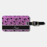 Custom name pastel purple glitter figure skating tags for bags