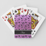Custom name pastel purple glitter figure skating poker cards