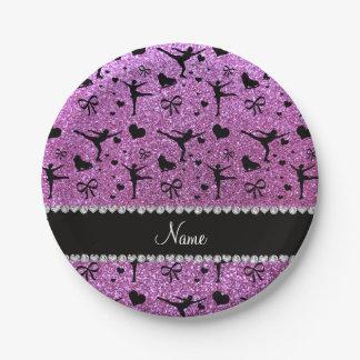 Custom name pastel purple glitter figure skating 7 inch paper plate