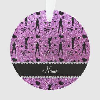 Custom name pastel purple glitter golf hearts bows ornament