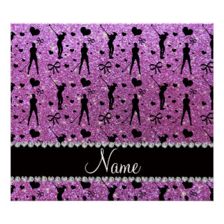 Custom name pastel purple glitter golf hearts bows poster
