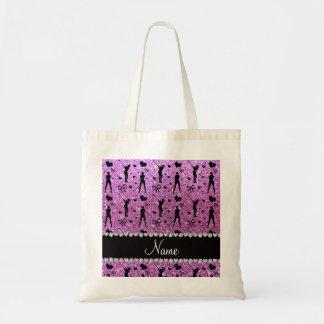 Custom name pastel purple glitter golf hearts bows tote bag