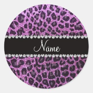 Custom name pastel purple glitter leopard print classic round sticker