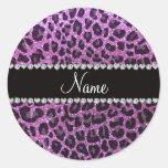 Custom name pastel purple glitter leopard print round stickers