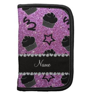 Custom name pastel purple glitter stars cupcakes planner