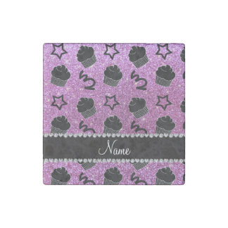 Custom name pastel purple glitter stars cupcakes stone magnet