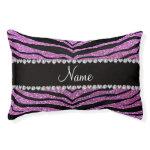 Custom name pastel purple glitter tiger stripes small dog bed