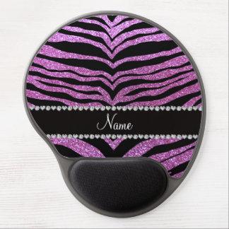 Custom name pastel purple glitter tiger stripes gel mouse pads