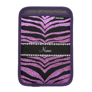 Custom name pastel purple glitter tiger stripes iPad mini sleeve